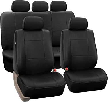 FORD FIESTA 02-08 Mk6 FULL LEATHER LOOK CAR SEAT COVER SET BLACK