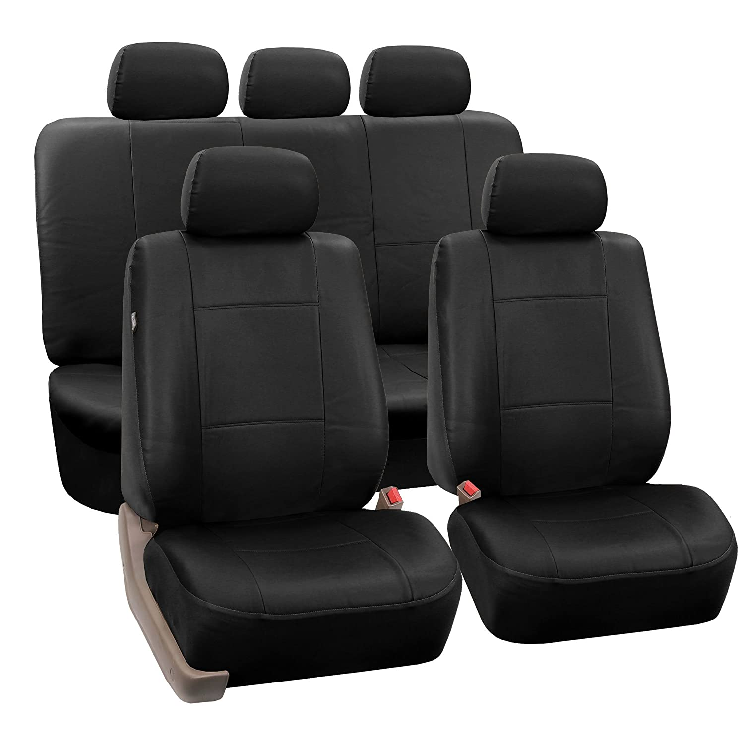 FH-PU002-1115 Classic Exquisite Leather Car Seat Covers, Airbag compatible and Split Bench, Solid Black color FH Group 002-111115