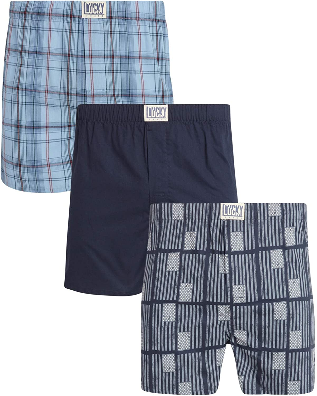 Lucky Brand Men/'s 100/% Cotton Blue Grey Boxer Briefs 3-Pack NWT Size S,M,L,XL
