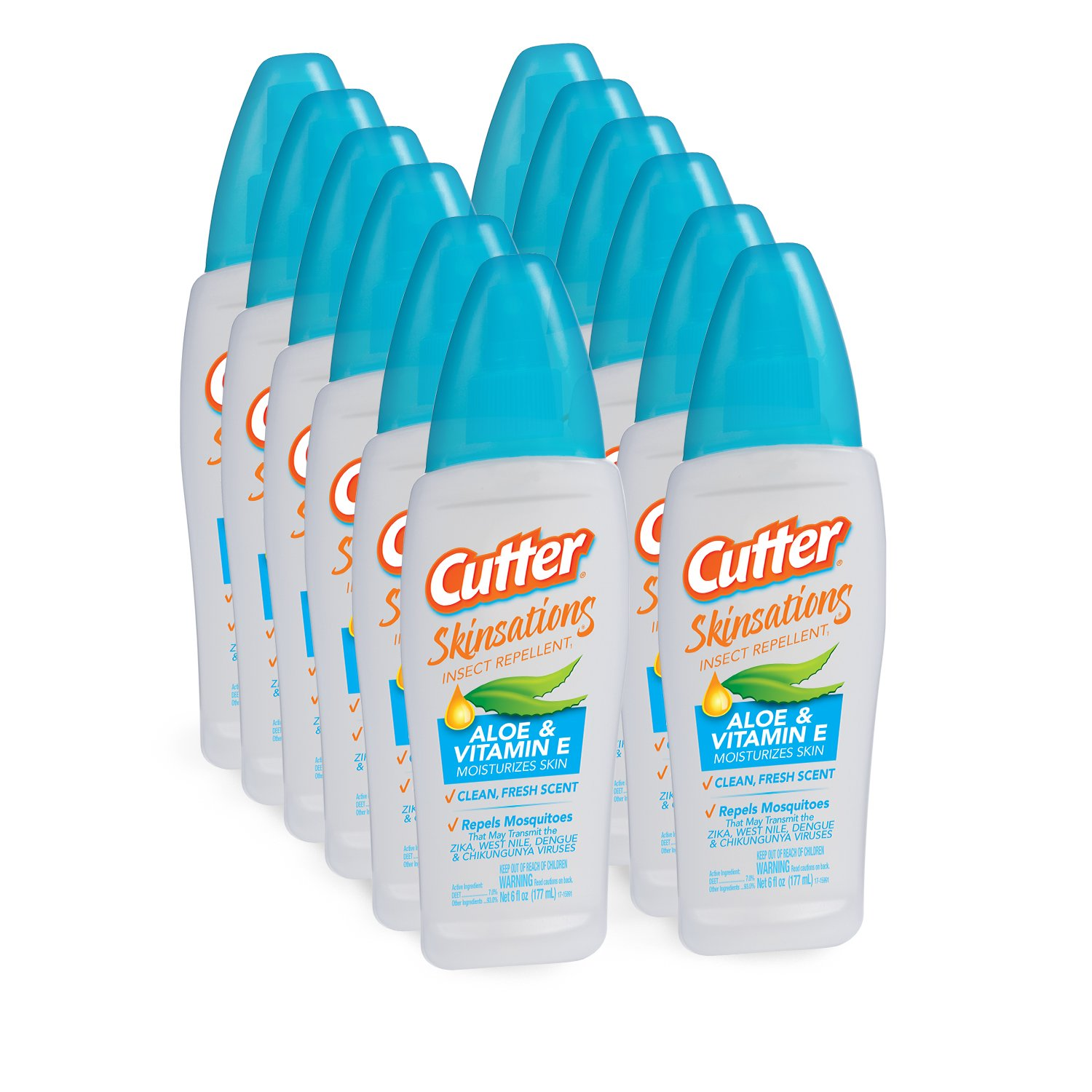 Cutter Skinsations Insect Repellent Pump Spray, 6-Ounce, 12-Pack by Cutter