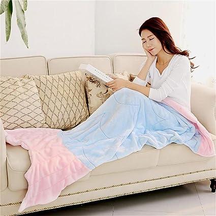 Qiaohome Cola de Sirena Manta para Mujer y Suave Saco de Dormir cálido para Grils,