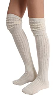 cd1206951 Black Thin Knit Thigh High Over The Knee Socks at Amazon Women s ...