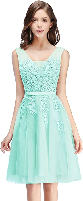 Women 2018 Lace Short Prom Homecoming Dress for Semi Formal Aqua ...