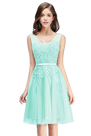 Babyonline Lace Tulle Prom Dresses Short V Neck Bridesmaid ...