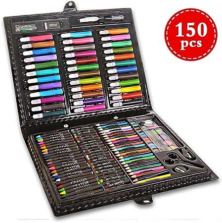 Caja Colores Niños,150 Juegos de artículos de papelería, Pincel para niños, Pincel, Herramientas de Pintura,Creatividad Art Set para: Amazon.es: Hogar