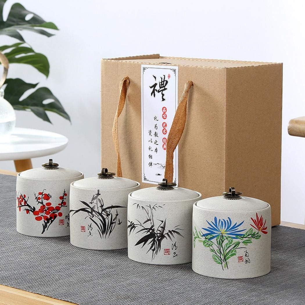 Paquete de 4 tarros de cerámica de estilo chino vintage de almacenamiento de latas de té latas de té tradicional con tapas selladas con cajas de regalo (1): Amazon.es: Bricolaje y herramientas