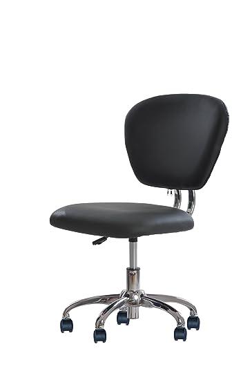 Amazoncom PU Leather Mid Back Mesh Task Chair Office Desk Task