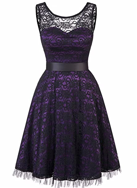 47cfc6fdd306c9 MUADRESS 6007 Women Vintage Floral Lace Sleeveless Cocktail Party Formal  Swing Dress Grape M