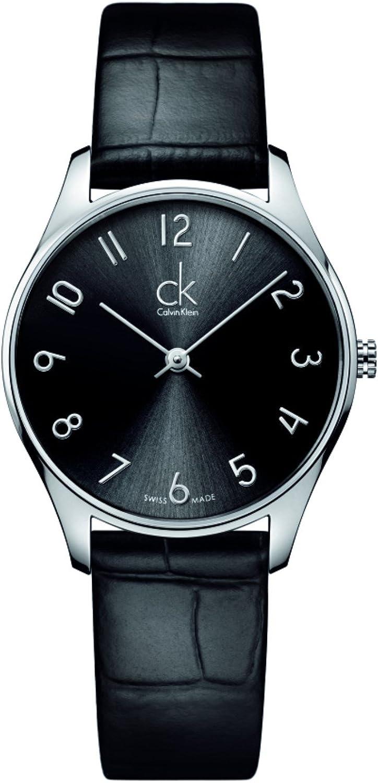 Calvin Klein K4D221CX - Reloj de Cuarzo para Mujer, con Correa de Cuero, Color Negro