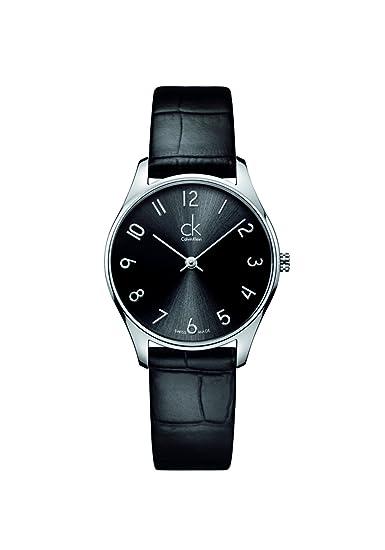 Calvin Klein K4D221CX - Reloj de cuarzo para mujer, con correa de cuero, color negro: Amazon.es: Relojes