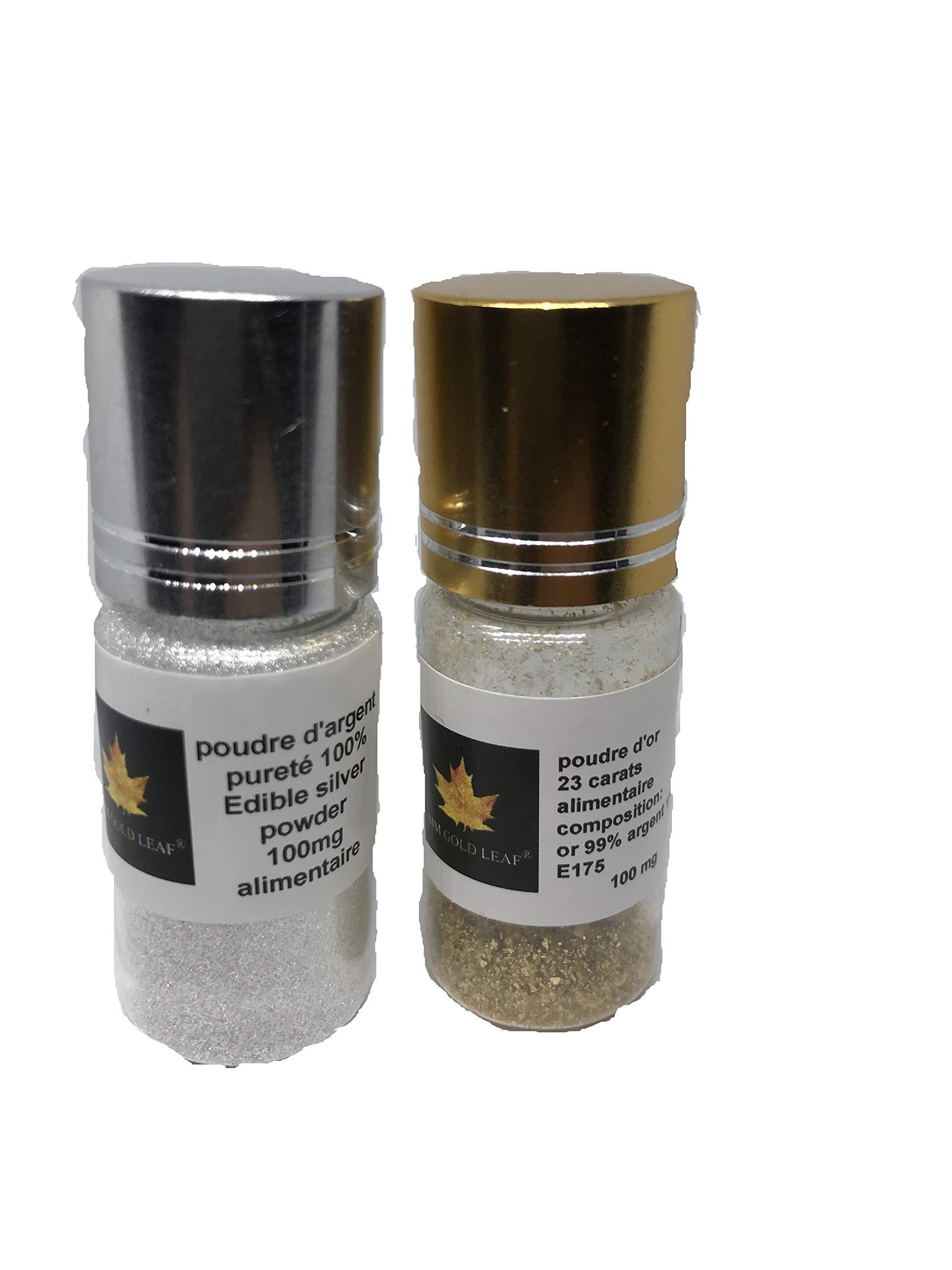 Pack of 100mg 100% Pure Edible Food Powder 100 mg 23 Carat Gold and Silver