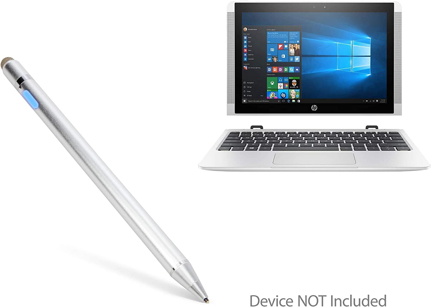 HP Chromebook x2 Stylus Pen, BoxWave [AccuPoint Active Stylus] Electronic Stylus with Ultra Fine Tip for HP Chromebook x2 - Metallic Silver
