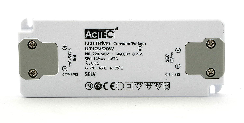 Alimentatore Trasformatore per LED ACTEC Slim CV Mode 12 V 20 Watt Tensione Costante