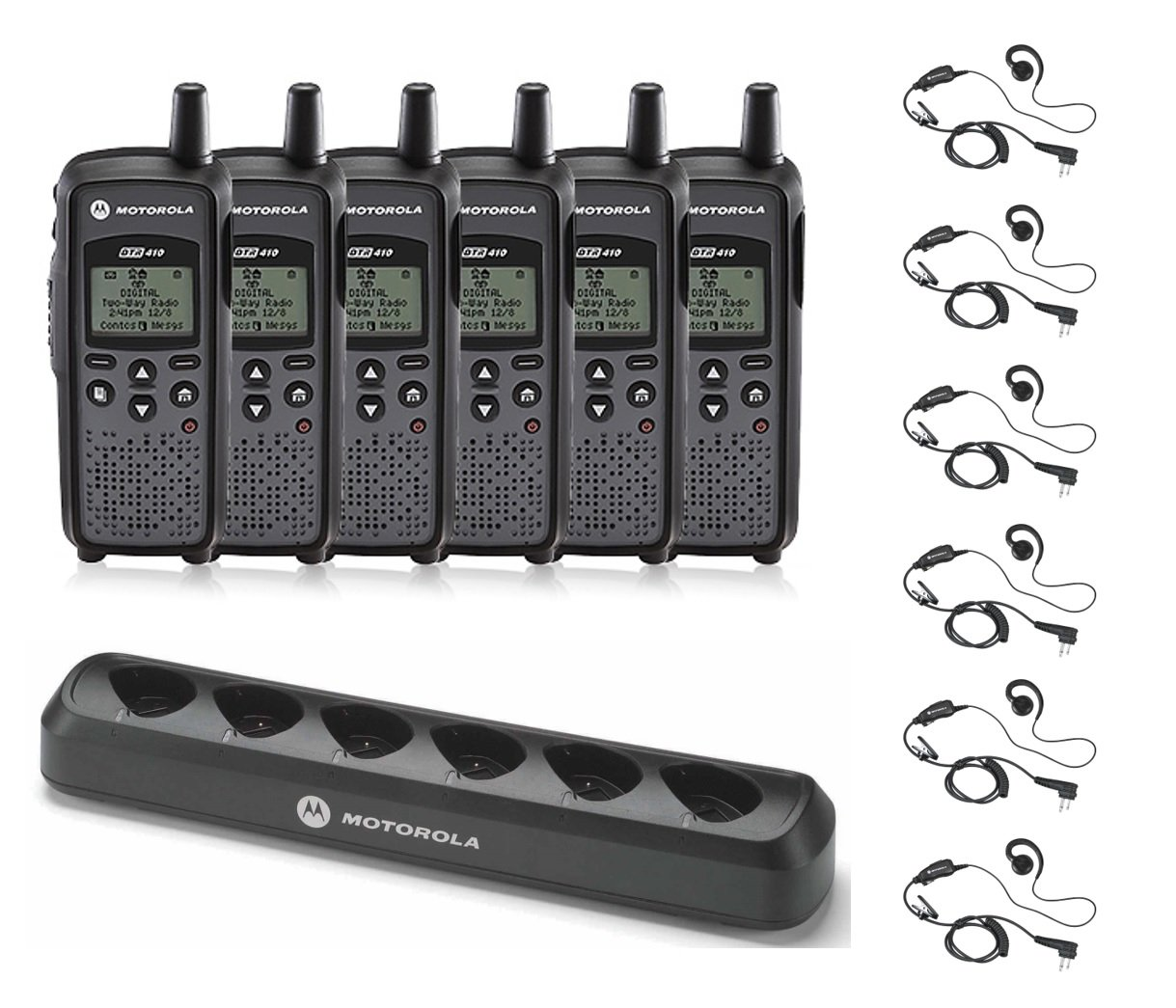 6 Pack of Motorola DTR410 Radios with 6 Push To Talk (PTT) earpieces and a 6-Bank Radio Charger