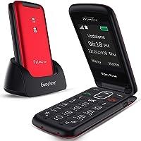 Easyfone Prime-Flip gsm Teléfono para Personas Mayores con Tapa, Teléfono móvil fácil de Usar con Botón SOS y Base de…
