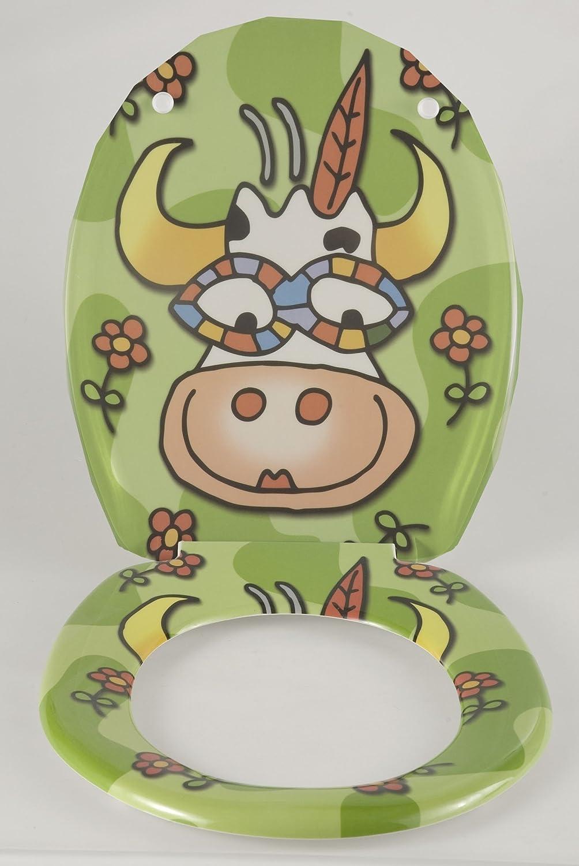 45 x 37,5 cm Materiale Plastico Multicolore Wenko 17616100 ASSE WC Crazy Cow Fissaggio in Acciaio Inossidabile