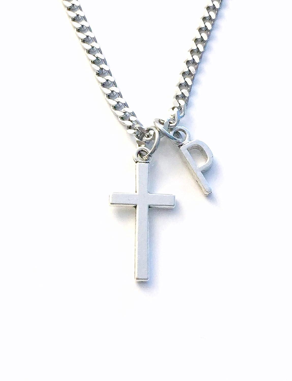 Amazon.com: Religious Gift for Men, Silver Cross Necklace ...