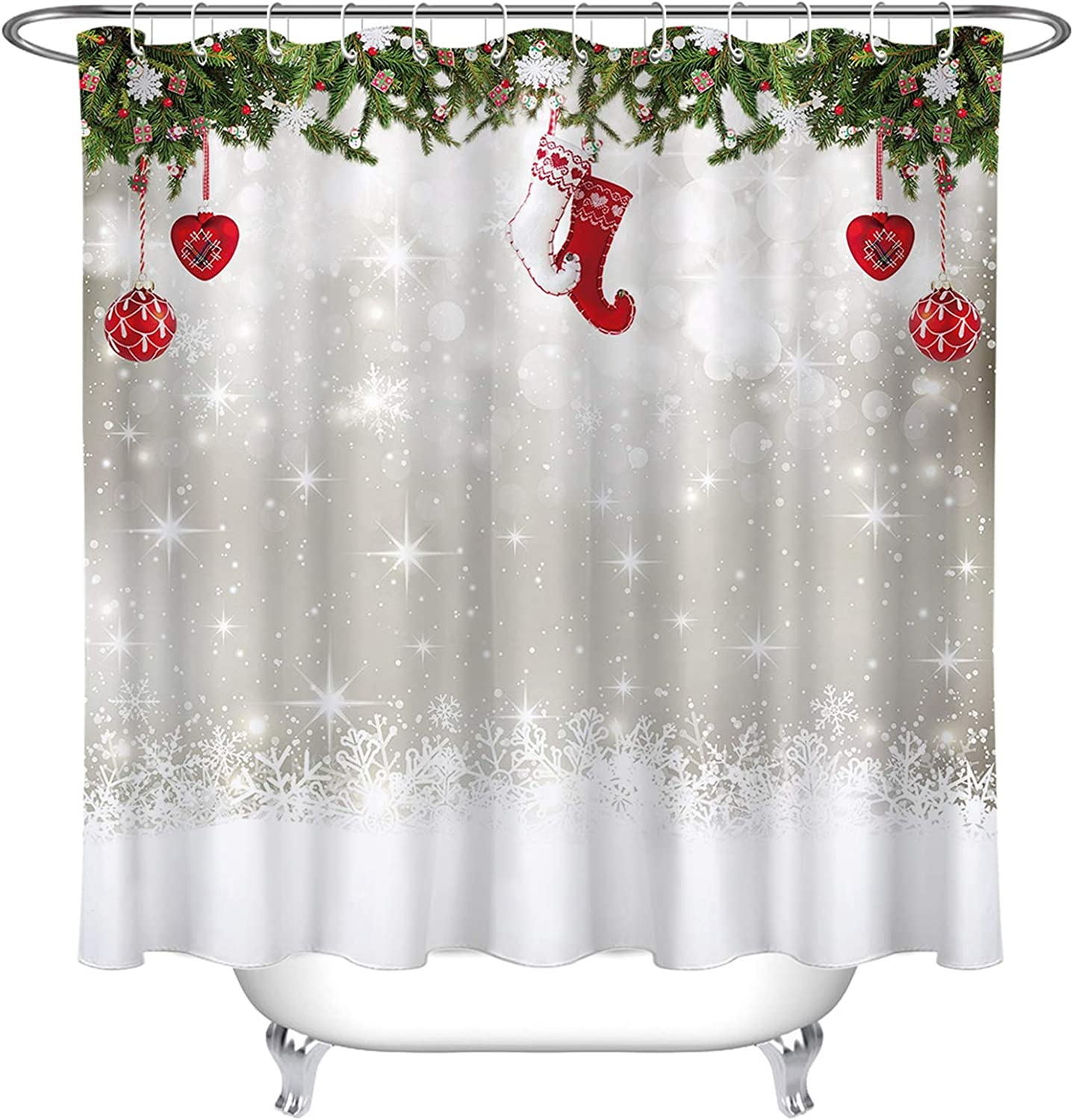 LB Simple Design Kids Christmas Shower Curtain Snowflakes Background with Christmas Balls Stocking Decorations 60x72 Inch Winter Xmas Bathroom Curtain with Green Leaves,Waterproof