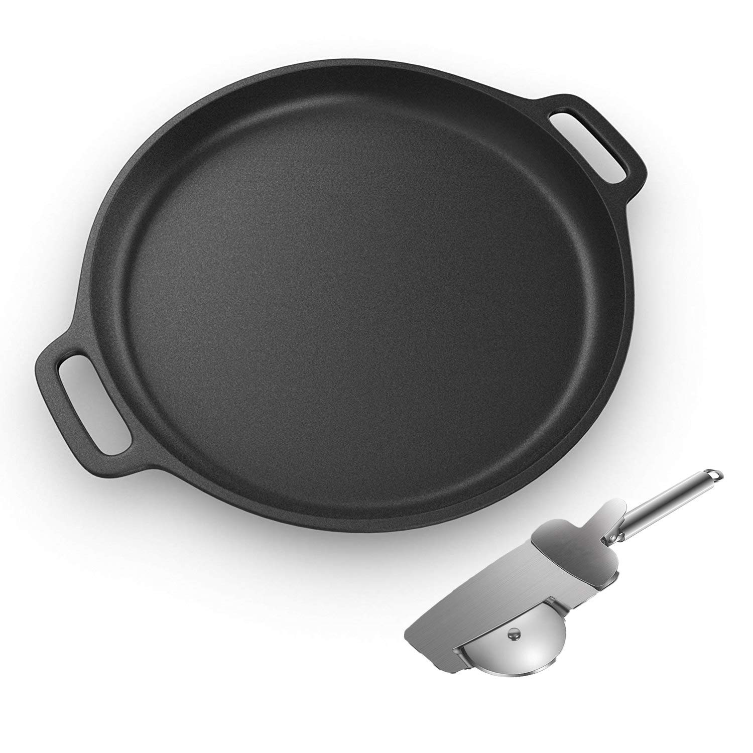 Pre-Seasoned Cast Iron Pizza and Baking Pan With 4 in 1 Pizza Cutter Wheel -13.5 inch Round Nonstick Skillet Pan For Grill,Stove, Oven or Campfire