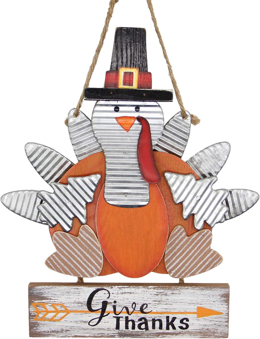 Zcaukya Thanksgiving Turkey Decoration, Wooden Board Carved Give Thanks Indoor Hanging Turkey Decor for Home Office Bedroom Kitchen Thanksgiving Harvest Day Decorations