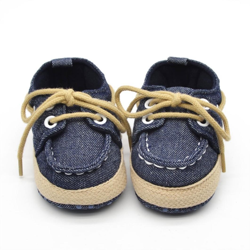 Voberry® Newborn Baby Boys' Premium Soft Sole Infant Prewalker Toddler Sneaker Shoes (6~12 Month, Dark Blue)