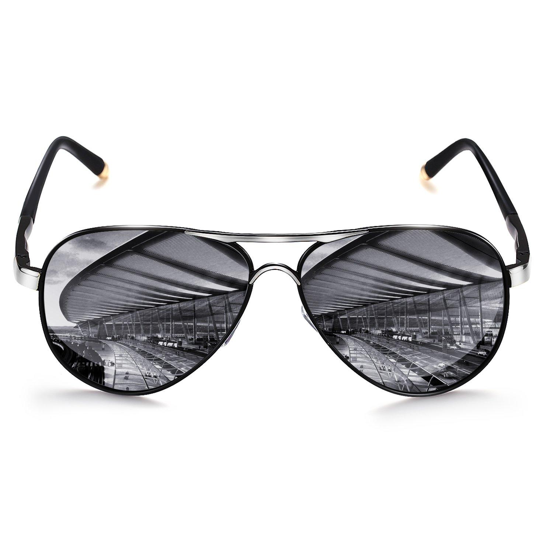 ROCKNIGHT Polarized Aviator Sunglasses for Men Women Metal Frame Flat Top Sunglasses Ultralight Silver Mirror Lens UV400 Outdoors by ROCKNIGHT