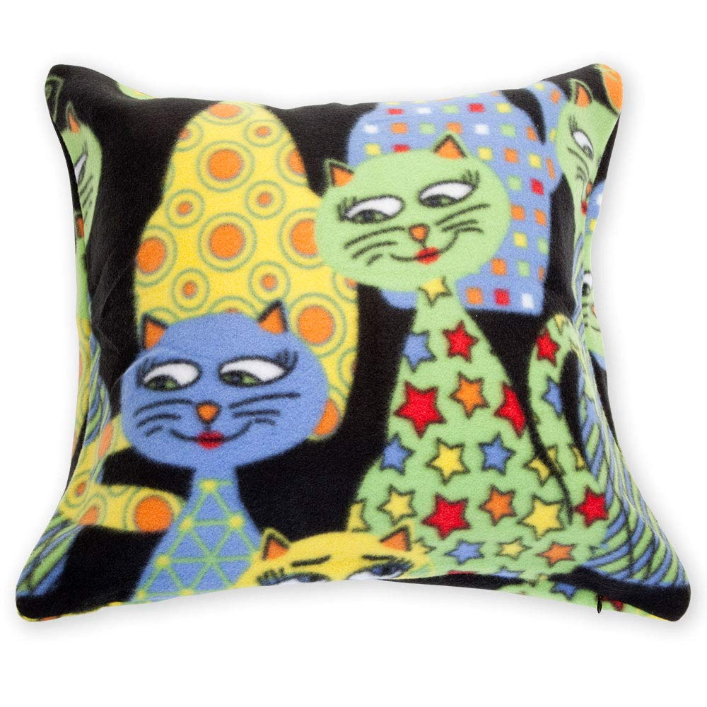 Bits And Pieces Krazy Kats Fleece Decorative Pillow Cover 18 Sq Throw Pillow Cover Amazon In Home Kitchen