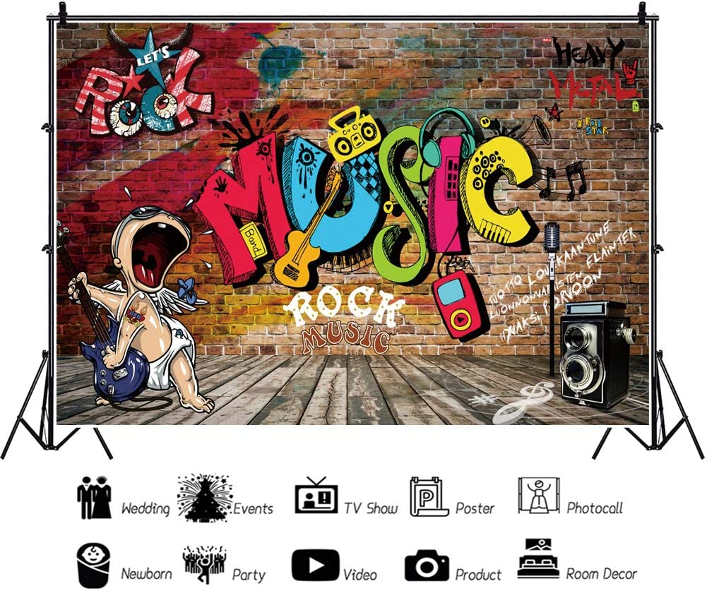 Leyiyi 12x10ft 90s Themed Backdrop Graffiti Wall Rock Music Vintage Disco Hip Hop Birthday Background Wood Board Baby Shower 90s Party Banner Photo Booth Supplies