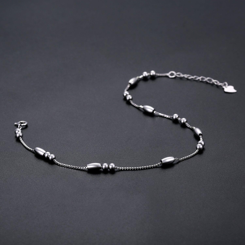 J.Vénus Damen Schmuck, 925er Sterlingsilber Fußkette längenverstellbar Damen-Fußkettchen, Schmuck mit Etui (Elegante weiße)