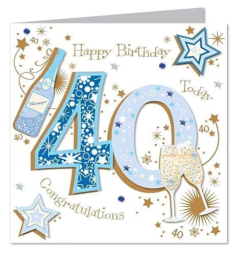 Gran lujo hecho a mano 40th Tarjeta de cumpleaños - Macho ...