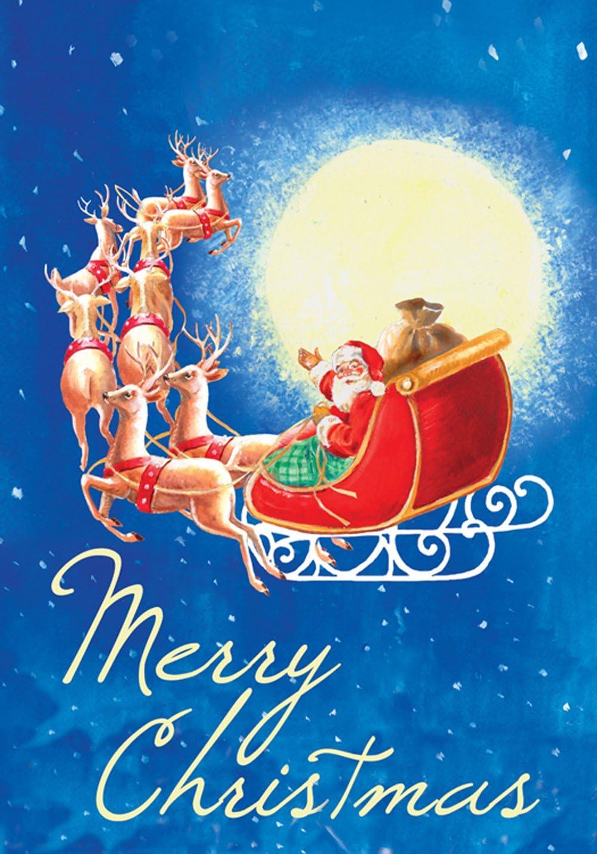 Toland Home Garden Moonlight Santa 12.5 x 18 Inch Decorative Merry Christmas Holiday Reindeer Sleigh Garden Flag - 119281