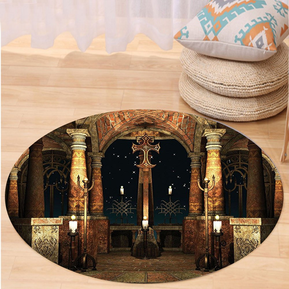 VROSELV Custom carpetGothic House Decor Collection Dark Mystic Ancient Hall with Pillars and Christian Cross Dome Shrine Church Bedroom Living Room Dorm Red Brown Black Round 79 inches