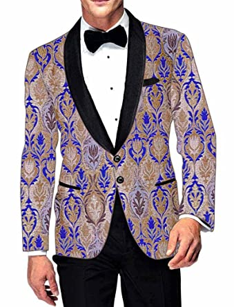 INMONARCH Mens Slim fit Casual Beige and Blue Blazer Sport Jacket Coat Partywear SB15042 at Amazon Mens Clothing store: