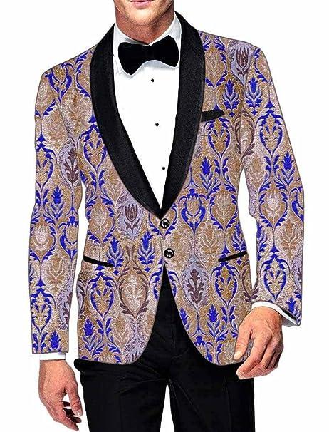 INMONARCH Hombres Chaqueta de sport Ropa de fiesta beige y azul SB15042: Amazon.es: Ropa y accesorios