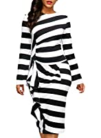 Dokotoo Womens Back Slit Striped Ruffle Long Sleeve Bodycon Dress