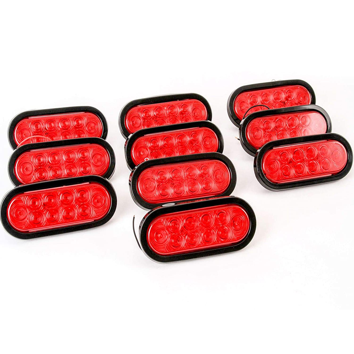 "Sealed Red 6/"" Oval Stop//Turn//Tail Light with 10 LED Diode Great for Trucks and Trailers Red Hound Auto Marine Waterproof DOT Compliant"