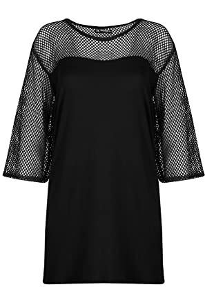 bbcbf1a64b Be Jealous Womens Ladies Fishnet Detail Batwing Sleeve Casual Oversized  Baggy T Shirt Top