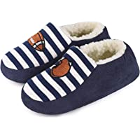 HomeTop Kids Warm Cotton Knit Sherpa Lined House Slippers with Elastic Back for Boys Girls