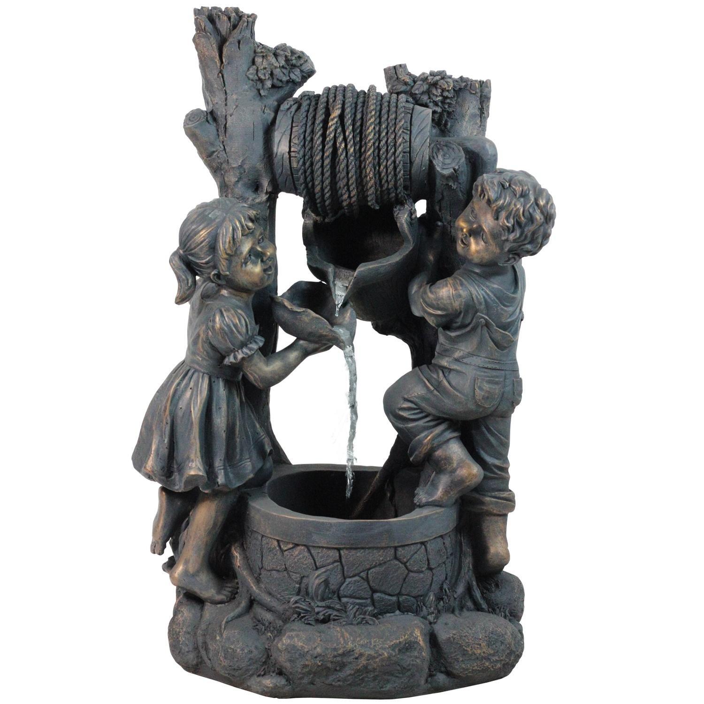 Northlight Children At the Well Outdoor Patio Garden Water Fountain, 30'', Bronze