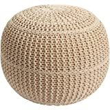 Brylanehome Hand Knitted Ottoman Pouf (Natural,0)