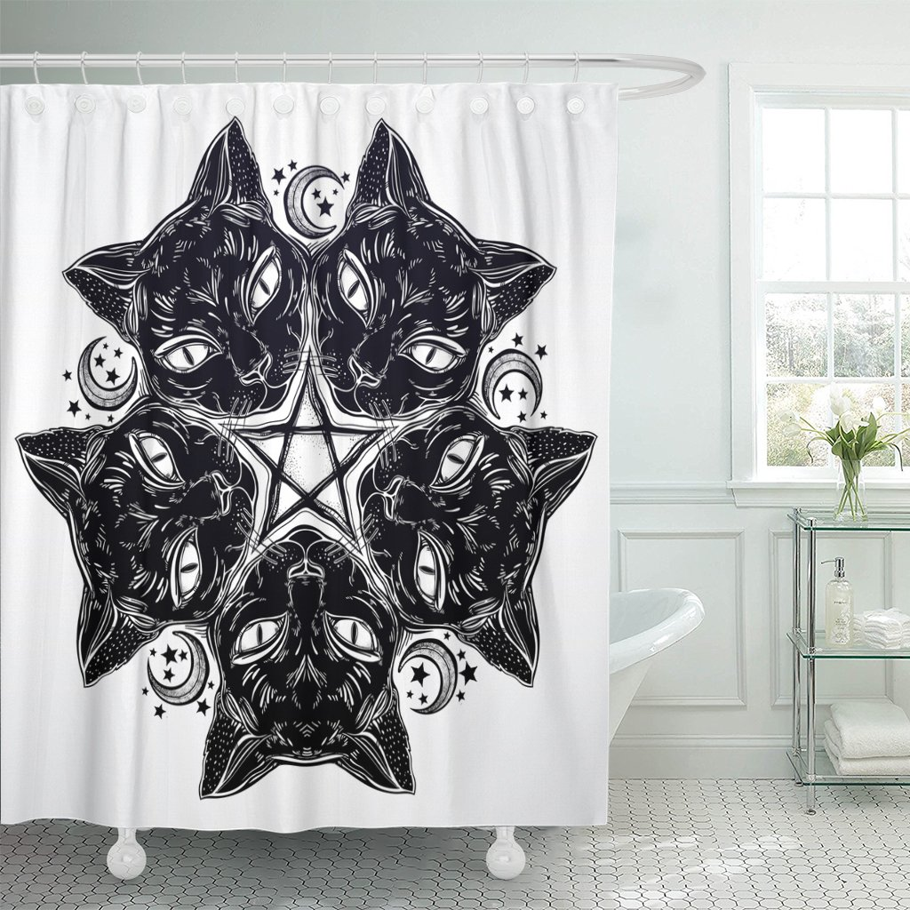 Amazon Com Emvency Shower Curtain Black Cat Head Round Portrait