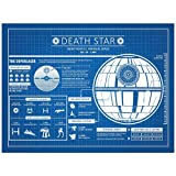 """Amazon Price History for:Inked and Screened Sci-Fi and Fantasy """"Star Wars Death Star Infographic"""" Print, Blue Grid - White Ink"""