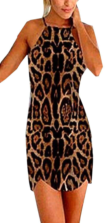 xiaokong Women Backless Sling Leopard Slim Fit Sexy Pencil Dress