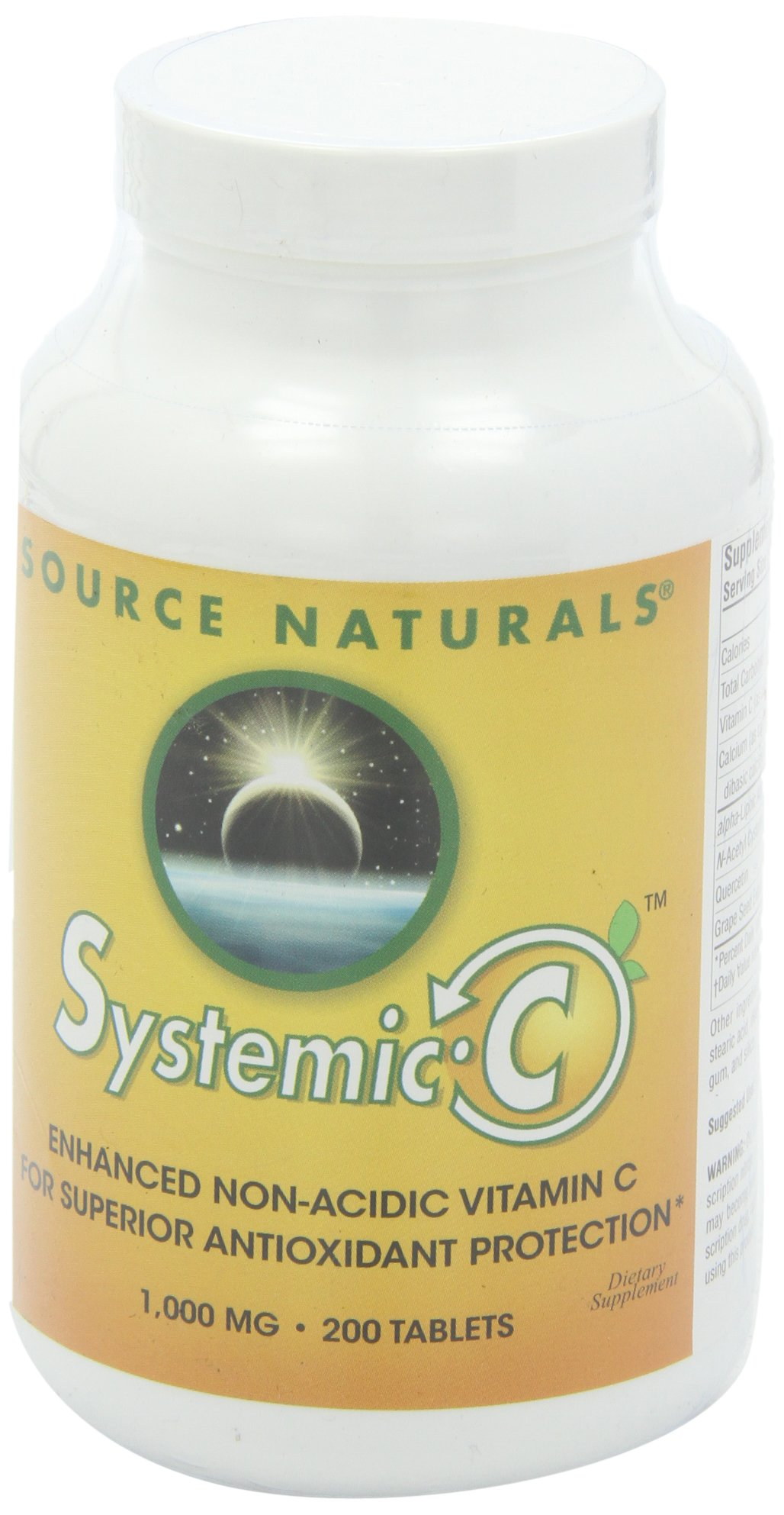 Source Naturals Systemic C 1000mg, Enhanced Non-Acidic Vitamin C for Superior Antioxidant Protection, 200 Tablets