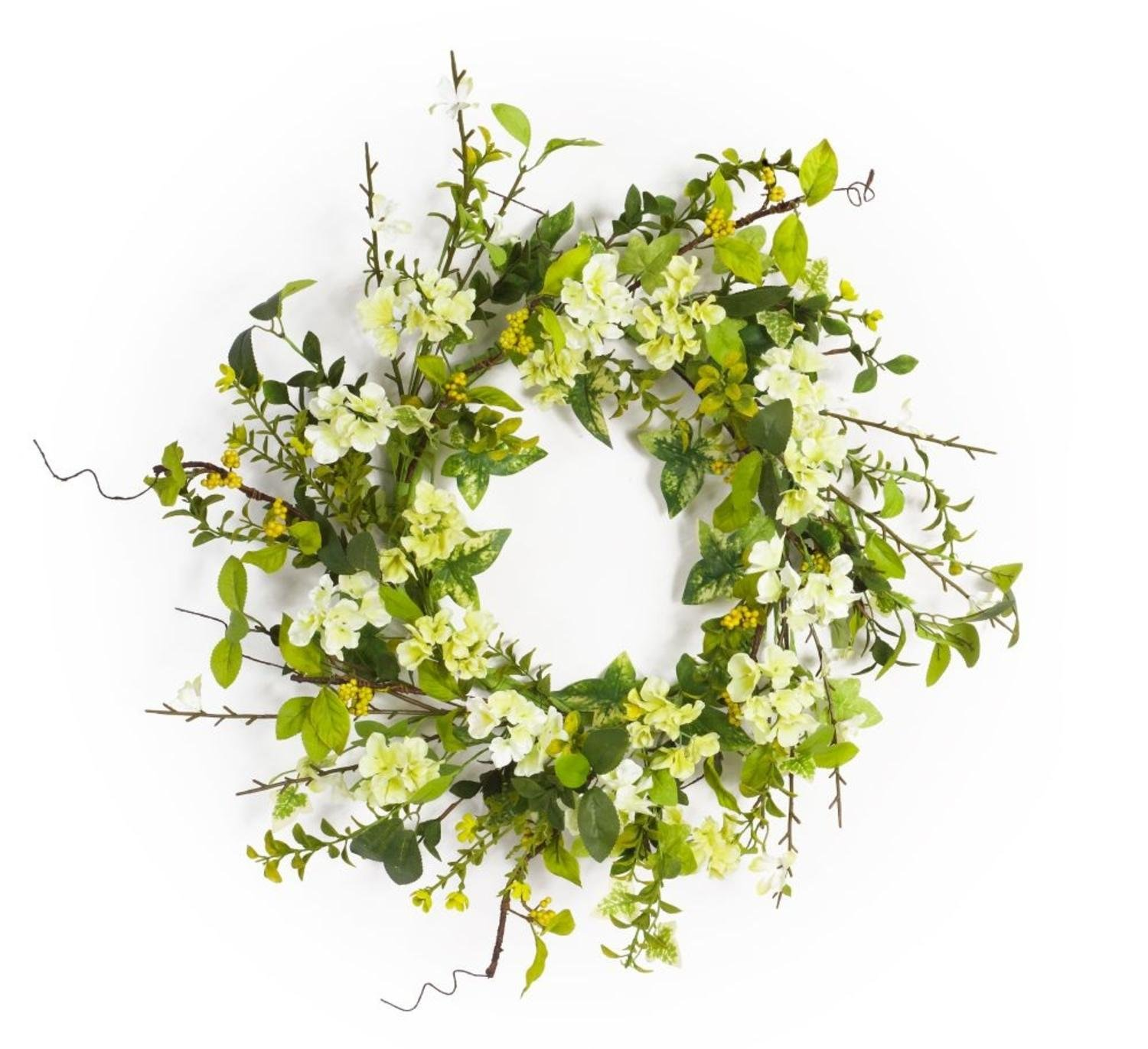 """Pack of 2 Decorative Spring White and Green Artificial Blossom Wreath 25"""""""