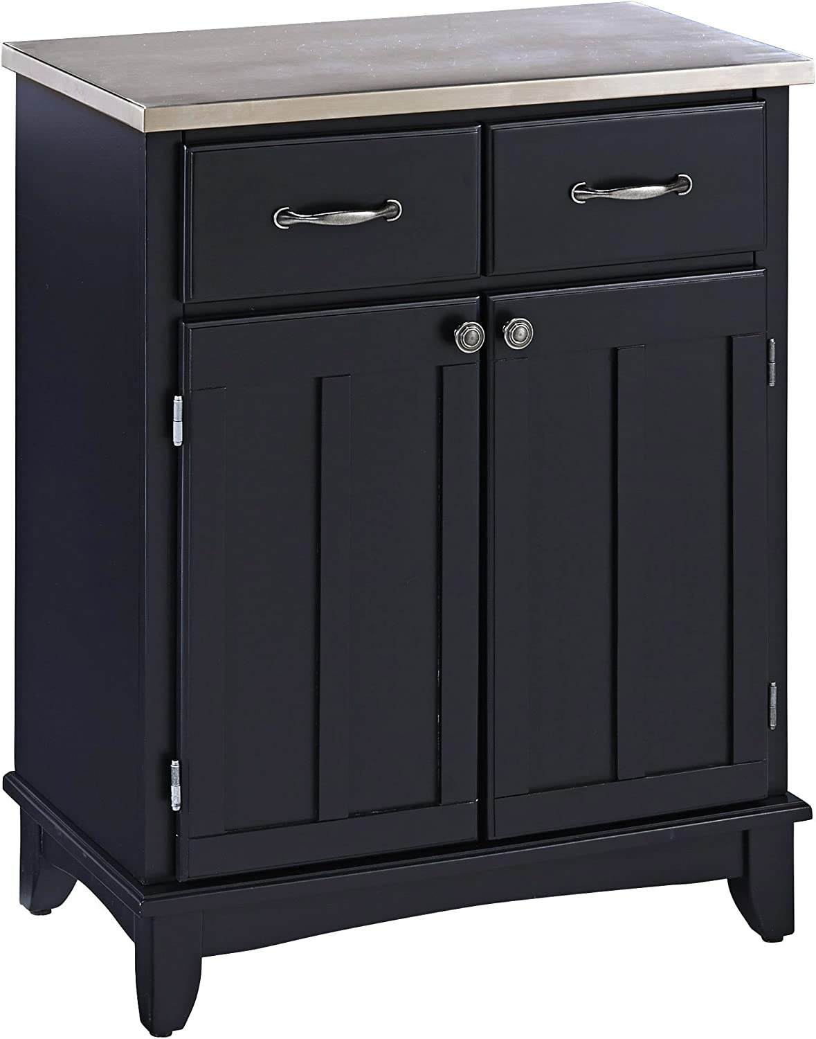 Home Styles Buffet of Buffets Black with 18-gauge Stainless Steel Top, Two Drawers, Two Wood Panel Doors, Brushed Steel Hardware, and Adjustable Shelf