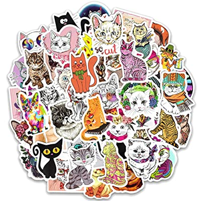 Ratgoo 50 Pcs Cute Cartoon Trendy Lovely Graffiti Waterproof Vinyl Cat Stickers Decals Pack for Laptop Water Bottle Car Bumper Skateboard Luggage iPhone Laptop Bike Guitar Gift Girls Kids Teens Boys: Computers & Accessories