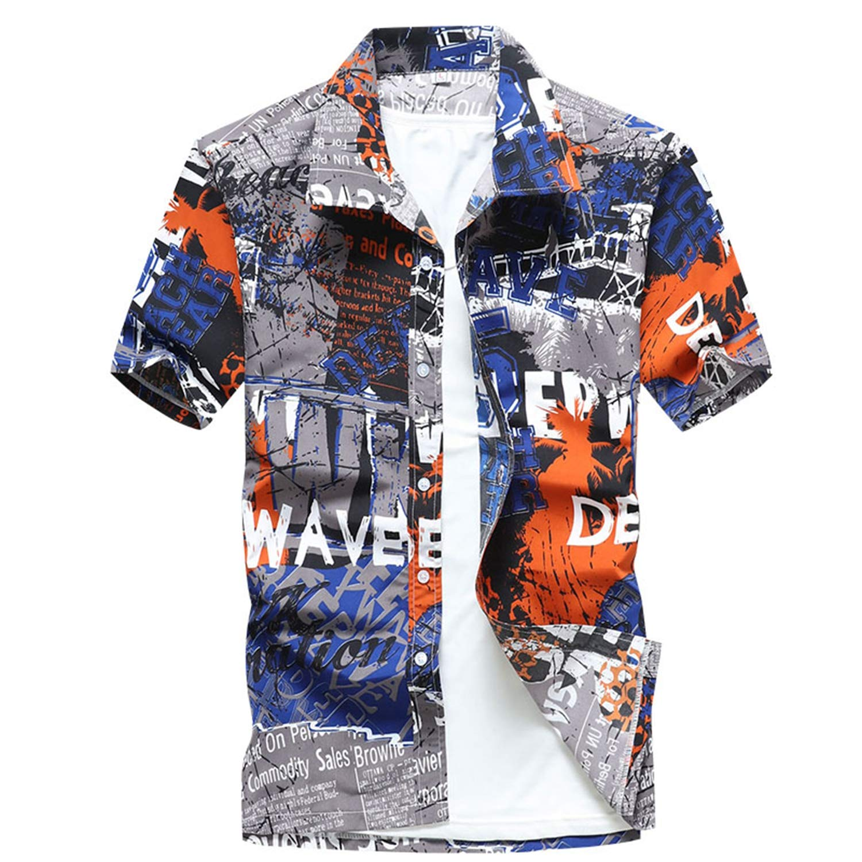 Dersimio Mens Beach Hawaiian Shirt Colorful Tropical Summer Short Sleeve Shirt Men Clothing Casual Loose Camisa Masculina Plus Size Blue-L