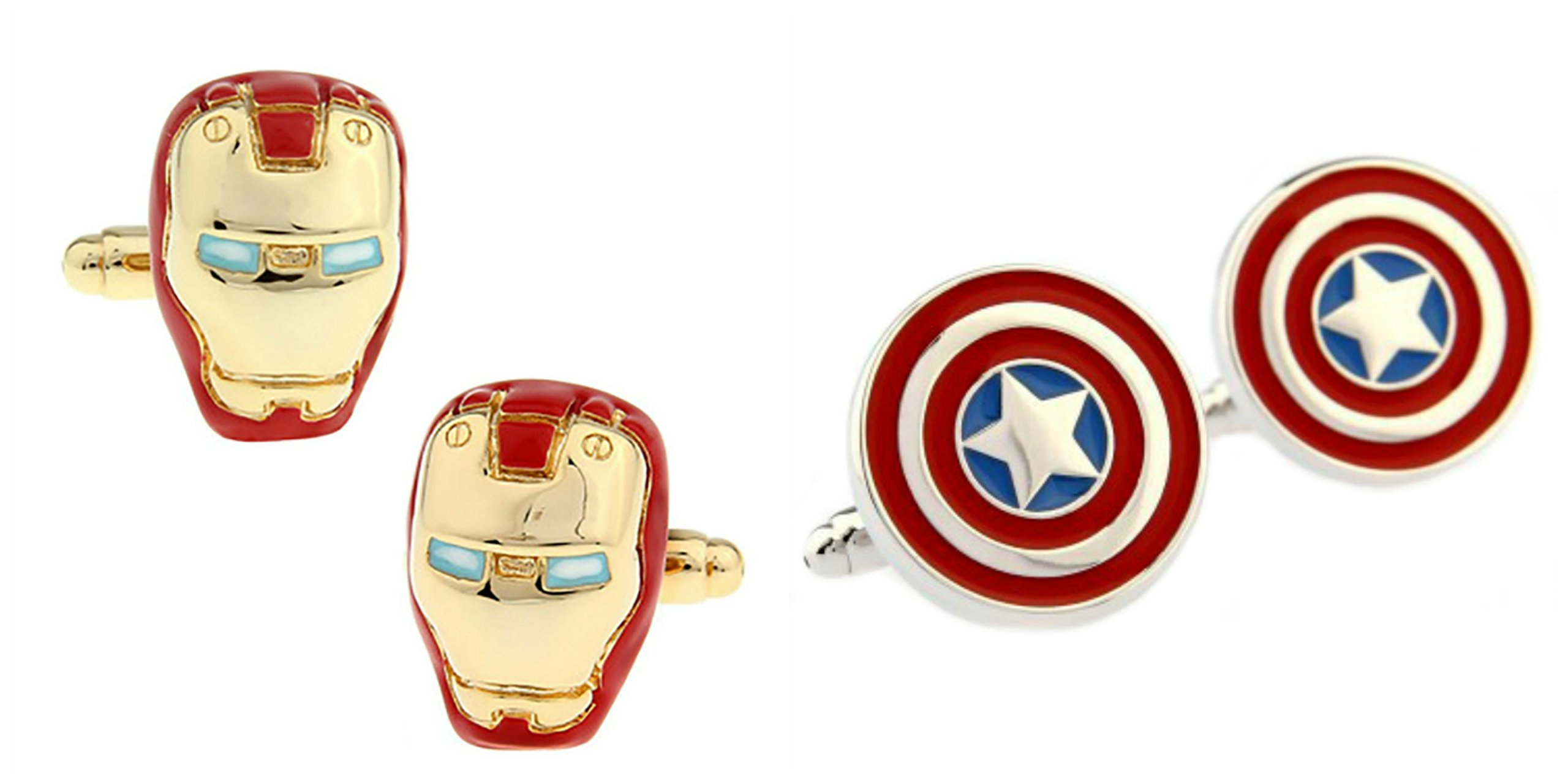 Superheroes Marvel Comics Avengers Captain America And Iron-Man (2 Pair) Cufflinks