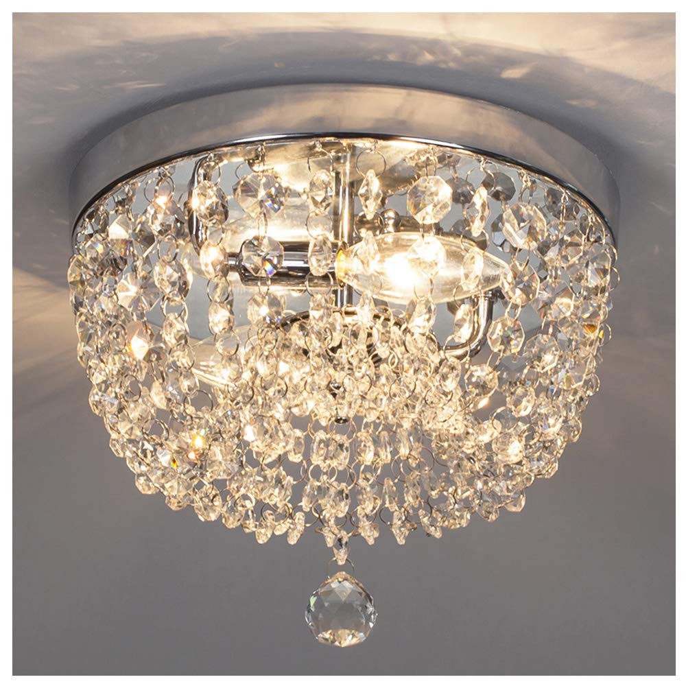 GLANZHAUS Fashion Designed Mini Style 9.84'' Chrome Finish Crystal Ceiling light, 2-Light Crystal Chandelier for Living Room Dining Room Bedroom